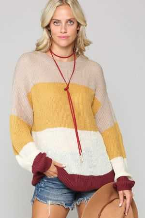 Knit sweater with color blocking stripes